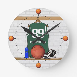 Personalized Green and White Basketball Jersey Round Clock