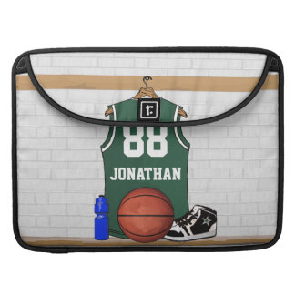 Personalized Green and White Basketball Jersey Sleeve For MacBooks