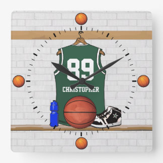 Personalized Green and White Basketball Jersey Square Wall Clock
