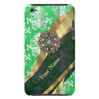 Personalized green and white damask pattern iPod Case-Mate case
