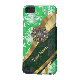 Personalized green and white damask pattern iPod touch (5th generation) cover