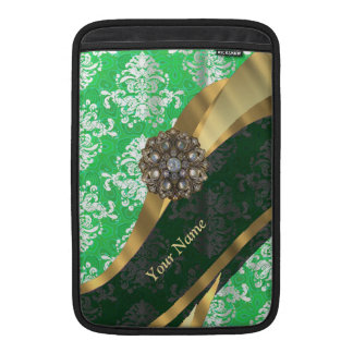 Personalized green and white damask pattern MacBook air sleeve