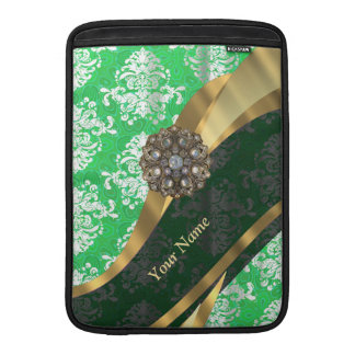 Personalized green and white damask pattern MacBook sleeve