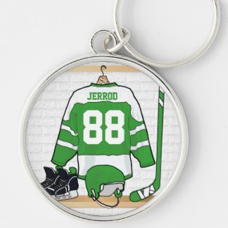 Personalized Green and White Ice Hockey Jersey Keychain