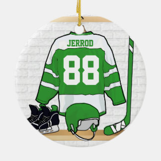 Personalized Green and White Ice Hockey Jersey Ornament