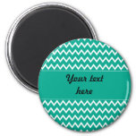 Personalized Green and White Zigzag Pattern Fridge Magnet
