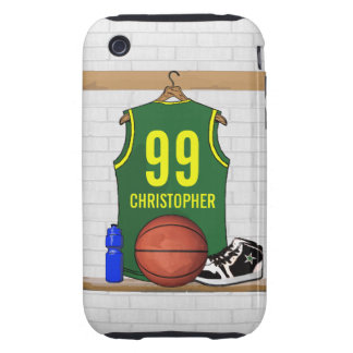 Personalized Green and Yellow Basketball Jersey Tough iPhone 3 Cover