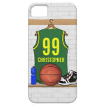 Personalized Green and Yellow Basketball Jersey iPhone 5 Cases