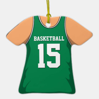 Personalized Green Basketball Jersey 15 V1 Double-Sided T-Shirt Ceramic Christmas Ornament
