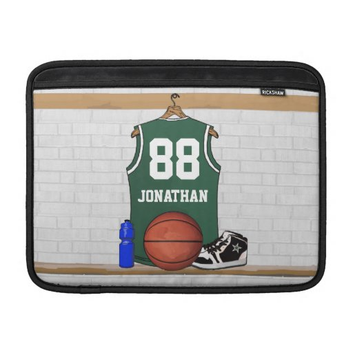 Personalized Green Basketball Jersey MacBook Air Sleeves