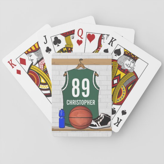 Personalized Green Basketball Jersey Playing Cards