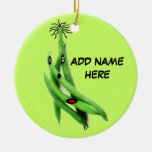 Personalized Green Bean Cartoon Christmas Ornament