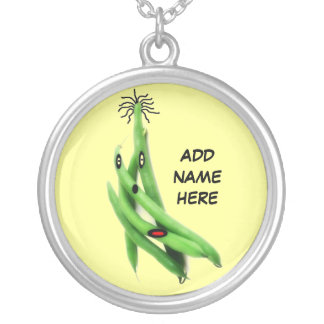 Personalized Green Bean Cartoon Round Pendant Necklace