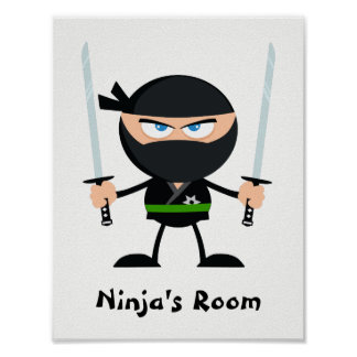 Personalized Green Belt Ninja Warrior Two Katana Poster