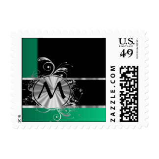 Personalized green black and silver monogram postage
