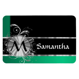 Personalized green black and silver monogram rectangular photo magnet