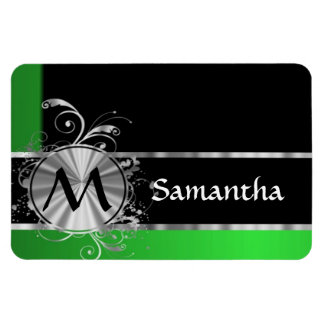 Personalized green black and silver rectangular photo magnet
