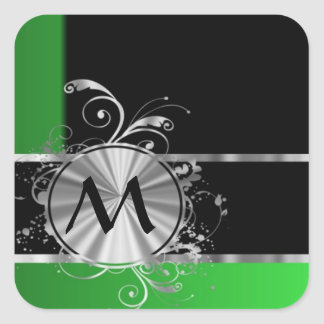 Personalized green black and silver square sticker