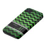 Personalized Green & Black Chevron iPhone 4 Case-Mate Case