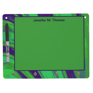 Personalized Green Blue Color Swish Dry Erase Board With Keychain Holder