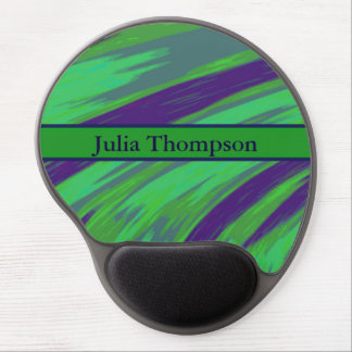 Personalized Green Blue Color Swish Gel Mouse Pad