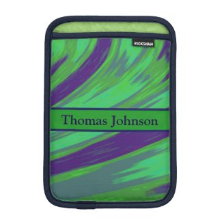 Personalized Green Blue Color Swish iPad Mini Sleeve