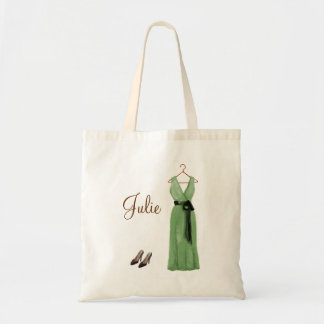 Personalized Green Bridesmaid Tote Bag