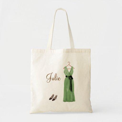 Personalized Green Bridesmaid Tote Bag