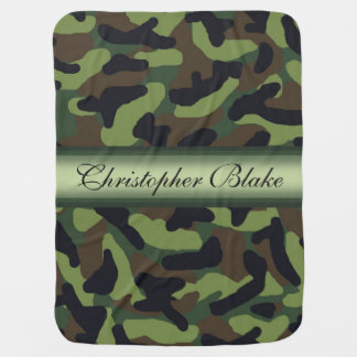 Personalized Green Camo Camouflage Baby Boy Baby Blanket