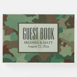Personalized Green Camouflage Wedding Guest Book