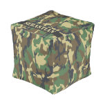 Personalized Green Camouflaged Cube Pouf
