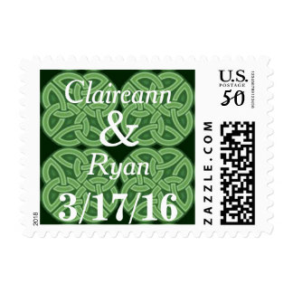 Personalized Green Celtic Knot Postage Stamps
