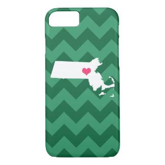 Personalized Green Chevron Massachusetts Heart iPhone 7 Case