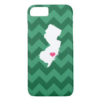 Personalized Green Chevron New Jersey Heart iPhone 7 Case
