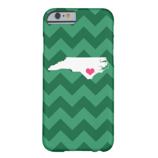Personalized Green Chevron North Carolina Heart Barely There iPhone 6 Case