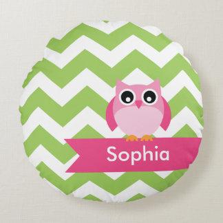 Personalized Green Chevron Pink Owl Round Pillow