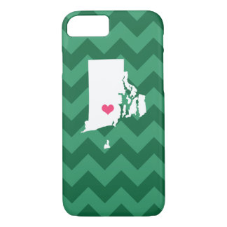 Personalized Green Chevron Rhode Island Heart iPhone 8/7 Case