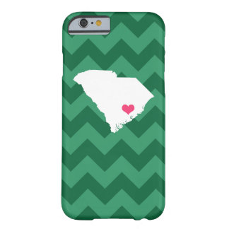 Personalized Green Chevron South Carolina Heart Barely There iPhone 6 Case