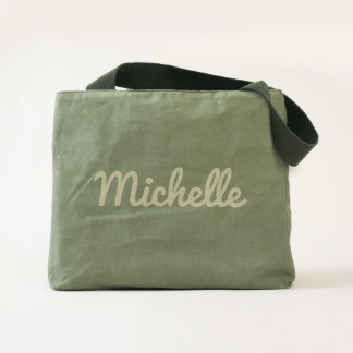 Personalized green cotton canvas utility tote bags