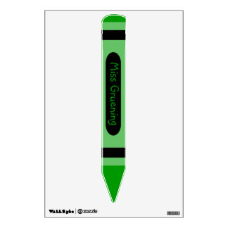 Personalized Green Crayon Name Sign Wall Sticker
