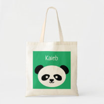 Personalized Green Cute Panda Bear Animal Kawaii Tote Bag
