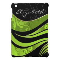 personalized green damask pattern girly Ipad case