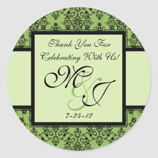 Personalized Green Damask Wedding Favor Labels