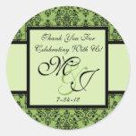 Personalized Green Damask Wedding Favor Labels Round Sticker