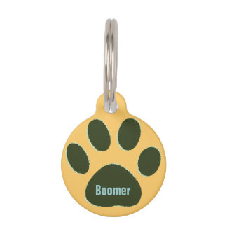 personalized green dog paw pet tag