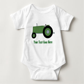 Personalized Green Farm Tractor Baby Bodysuit