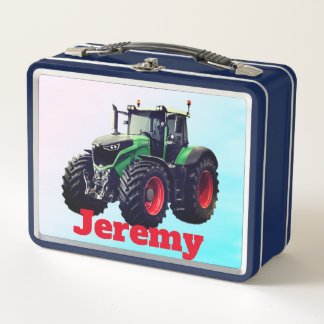 Personalized Green Farm Tractor Metal Lunch Box