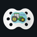 """Personalized Green Farm Tractor Pacifier<br><div class=""""desc"""">A simple design of a green farm tractor is perfect for the up and coming farmer.</div>"""