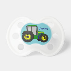 Personalized Green Farm Tractor Pacifier at Zazzle