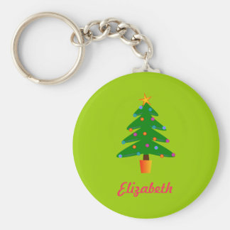 Personalized Green Festive Christmas Tree Keychain